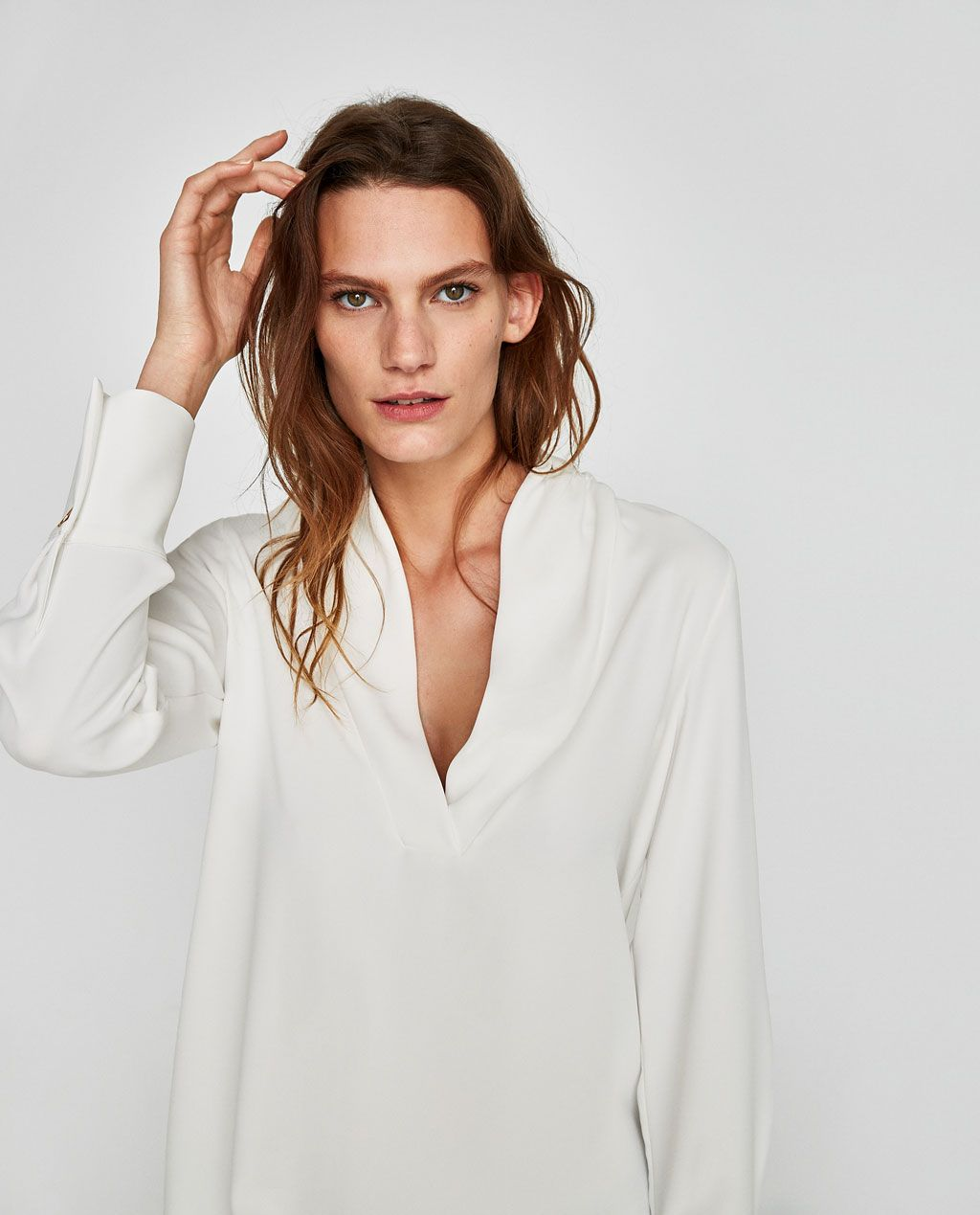 882565996dcc6 Image 4 of SHIRT WITH DRAPED NECKLINE from Zara