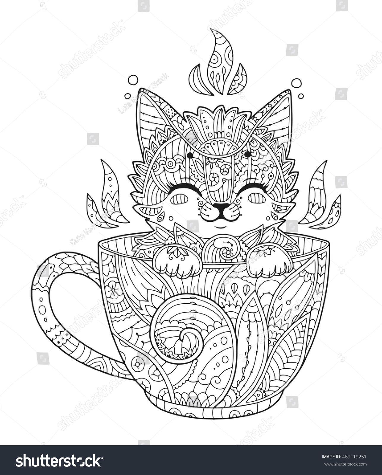 Kätzchen in Tasse. Erwachsenenfarbseite mit Katze Stock-Vektorgrafik (Lizenzfrei) 469119251