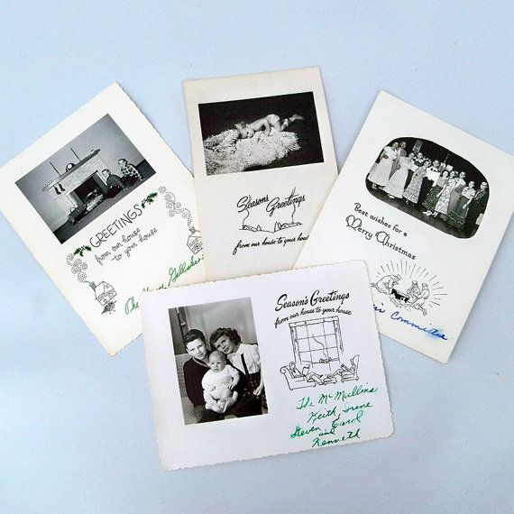 A Lot of 4  1950s Family Photo Christmas Cards  by leapinglemming