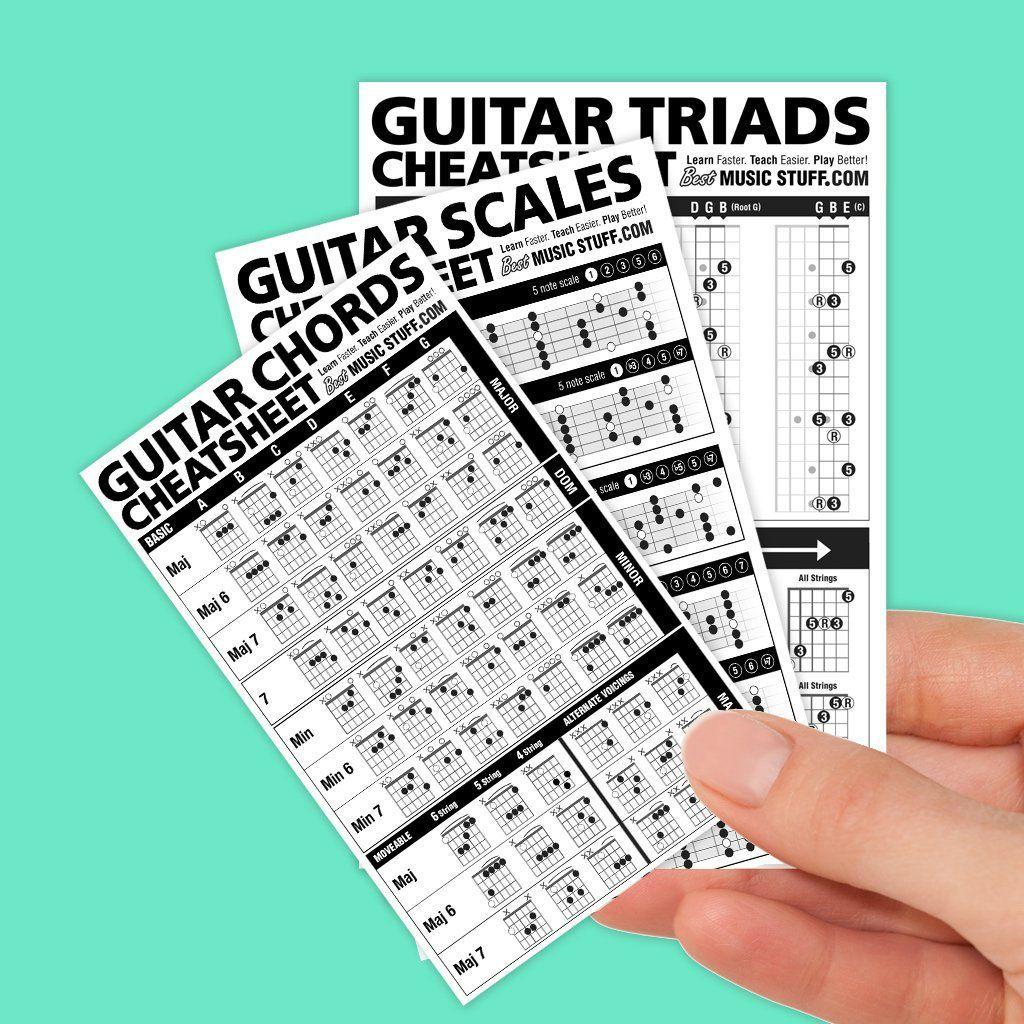 Guitar Chords Scales And Triads Cheatsheet 3 Pack Bundle