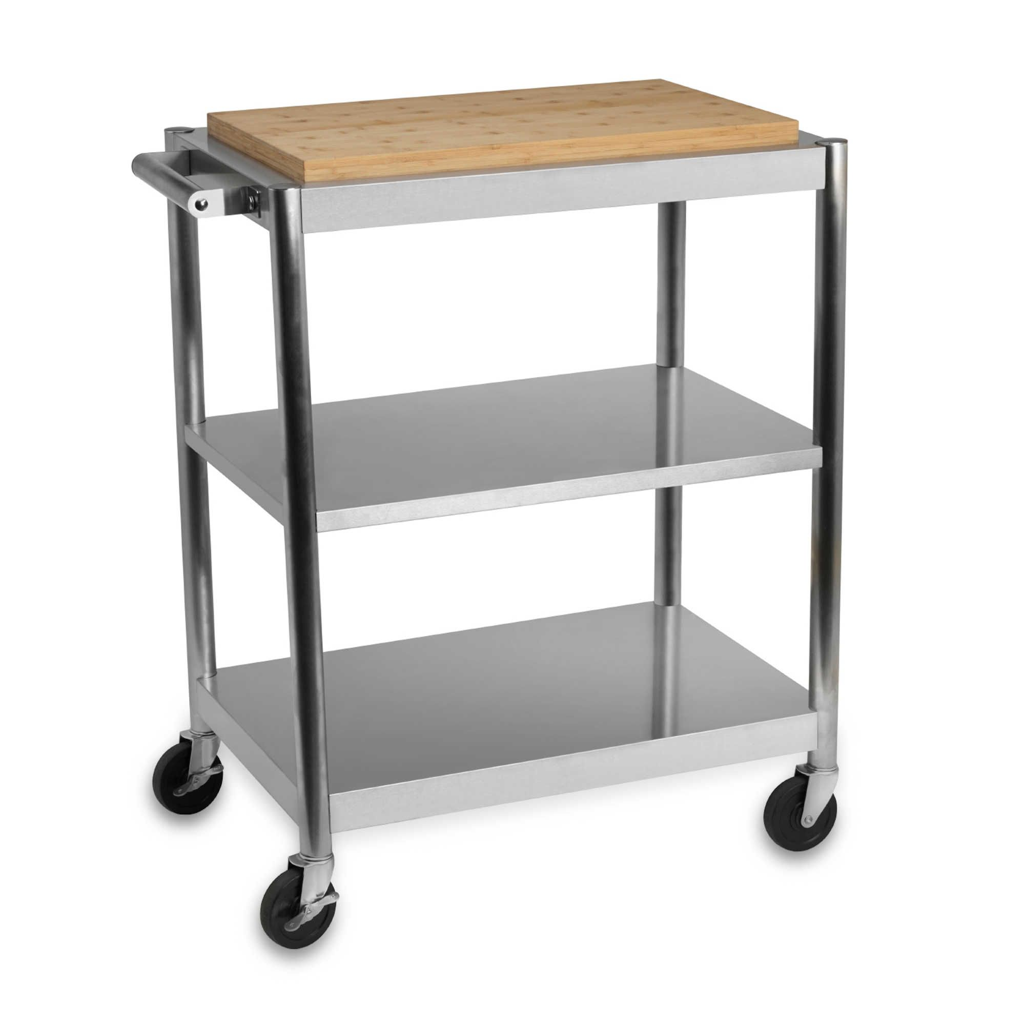 Superior International Silver Stainless Steel Rolling Kitchen Cart With Bamboo Top