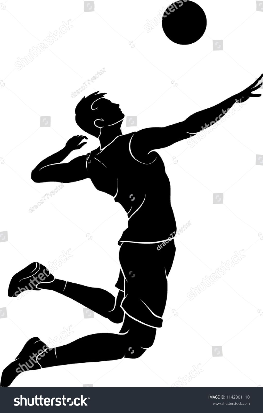 Vetor Stock De Male Volleyball Mid Air Silhouette Livre De Direitos 1142001110 Em 2020 Papel De Parede De Volei Desenho De Volei Imagens De Volei