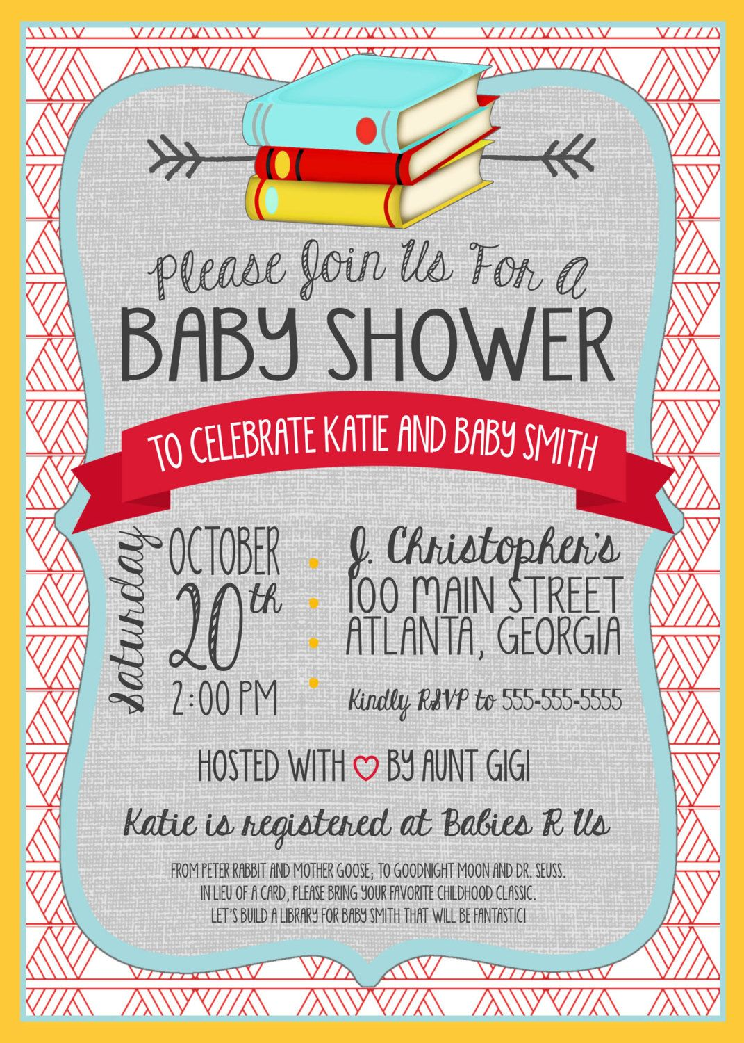 Book Themed Baby Shower Invitation - Classic Book Baby Sprinkle ...