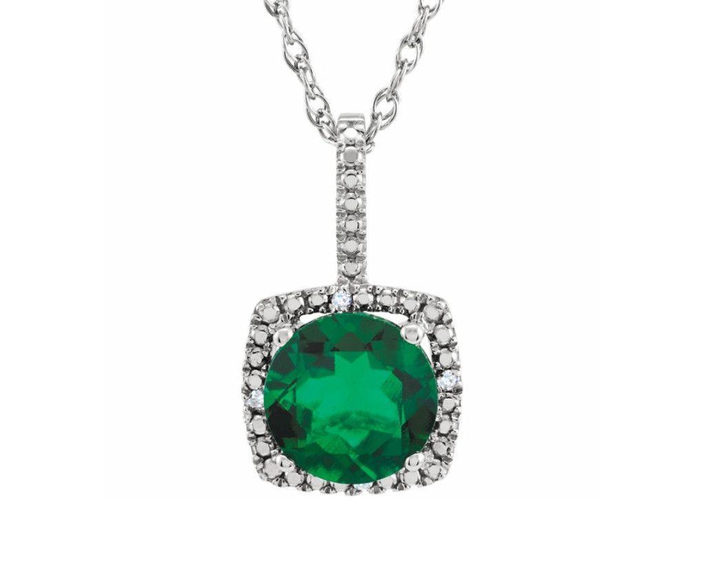 Emerald & Diamond Sterling Silver Necklace - Pendant