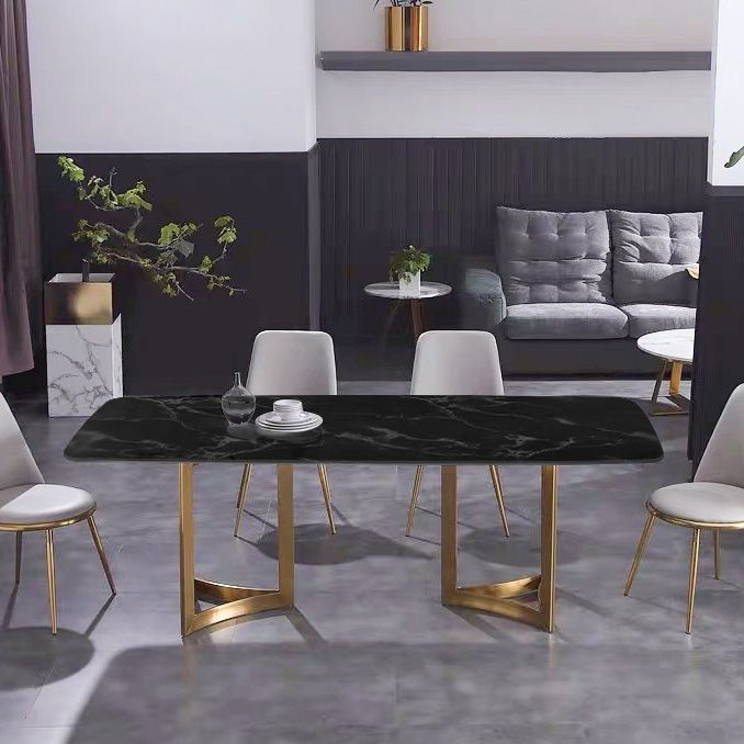 Modern 63 Rectangular Dining Table Faux Marble Top Golden Base Black Marble Dining Table Dining Table Marble Luxury Round Dining Table Luxury Dining Room