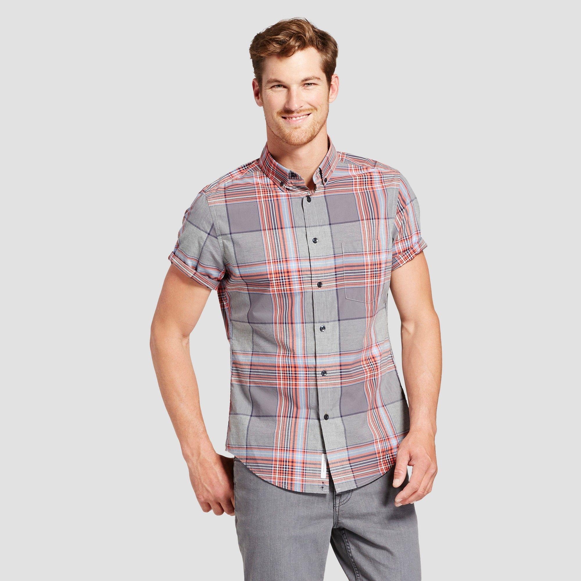 Mens short sleeve soft wash slim fit button down shirt