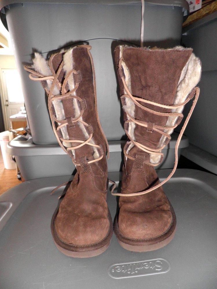 20d2ae391bd UGG Whitley Ladies Size 6 Brown Lace up Leather Sheepskin Tall Boots ...