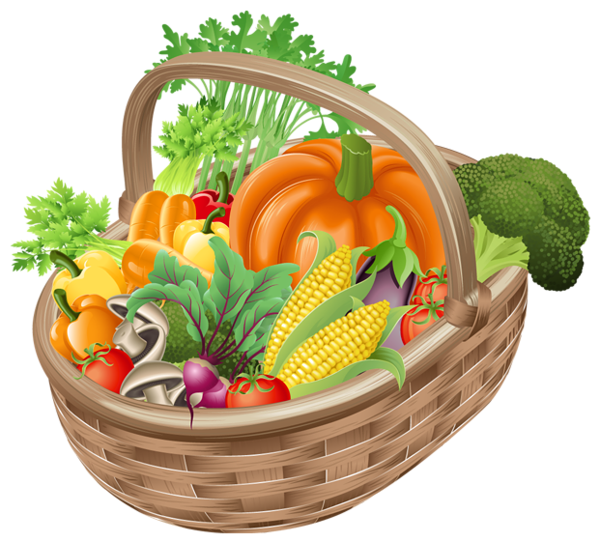 Basket with Vegetables PNG Picture Clipart Zöldségek