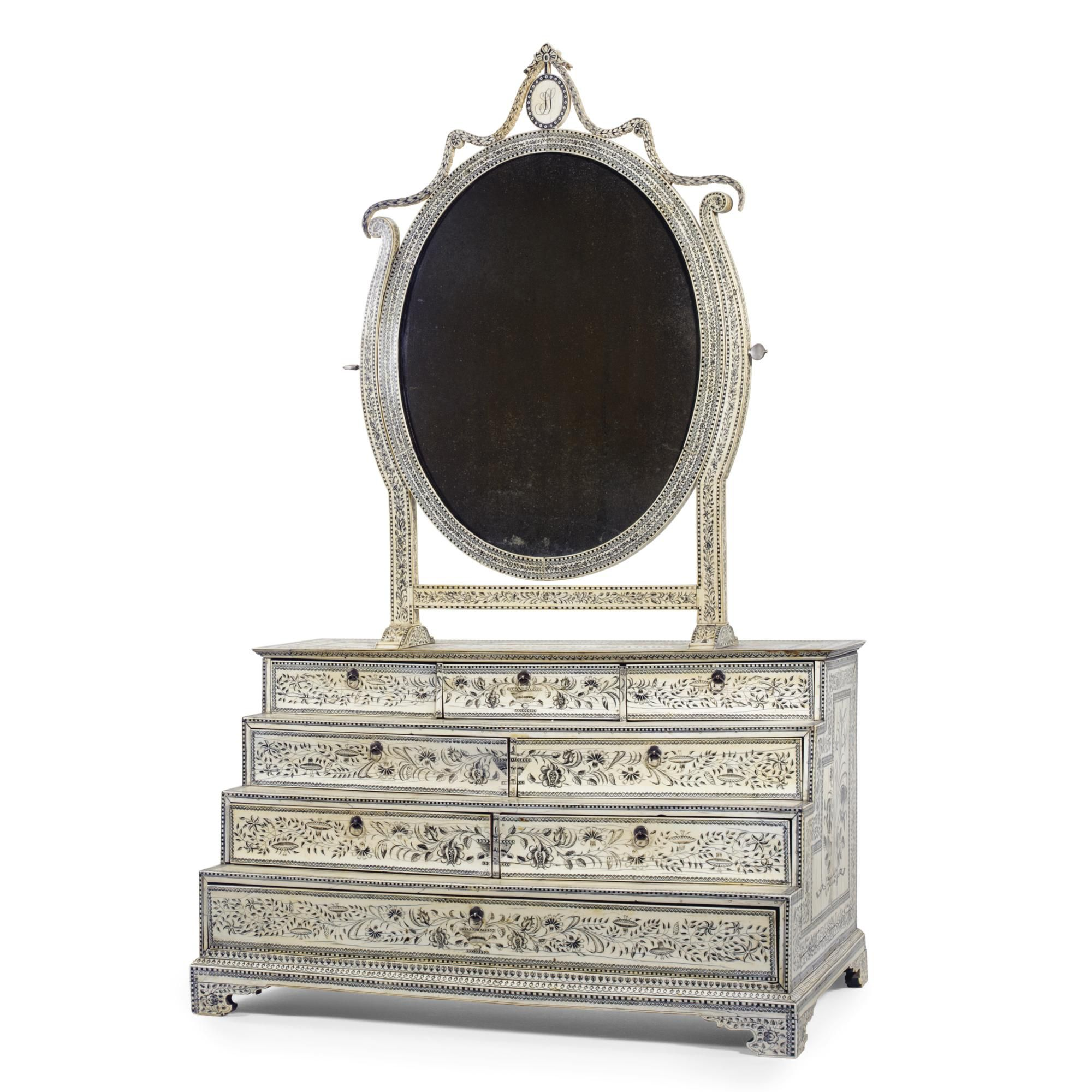An Anglo-Indian ivory toilet mirror Vizagapatam, circa 1780 SOLD. 18,000 GBP