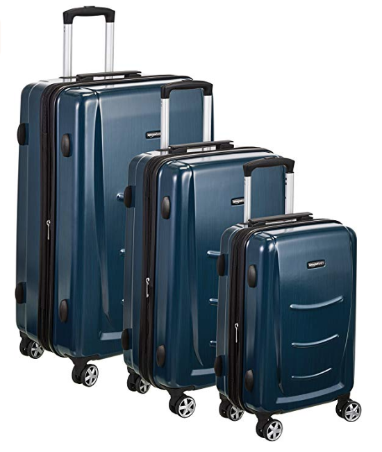 Amazonbasics N991 Hardshell Spinner Luggage Set Amazonbasics N991 Is An Imported Hardshell Spinner Luggage Set Of Three Pieces In Navy Blue Color You C Bavullar