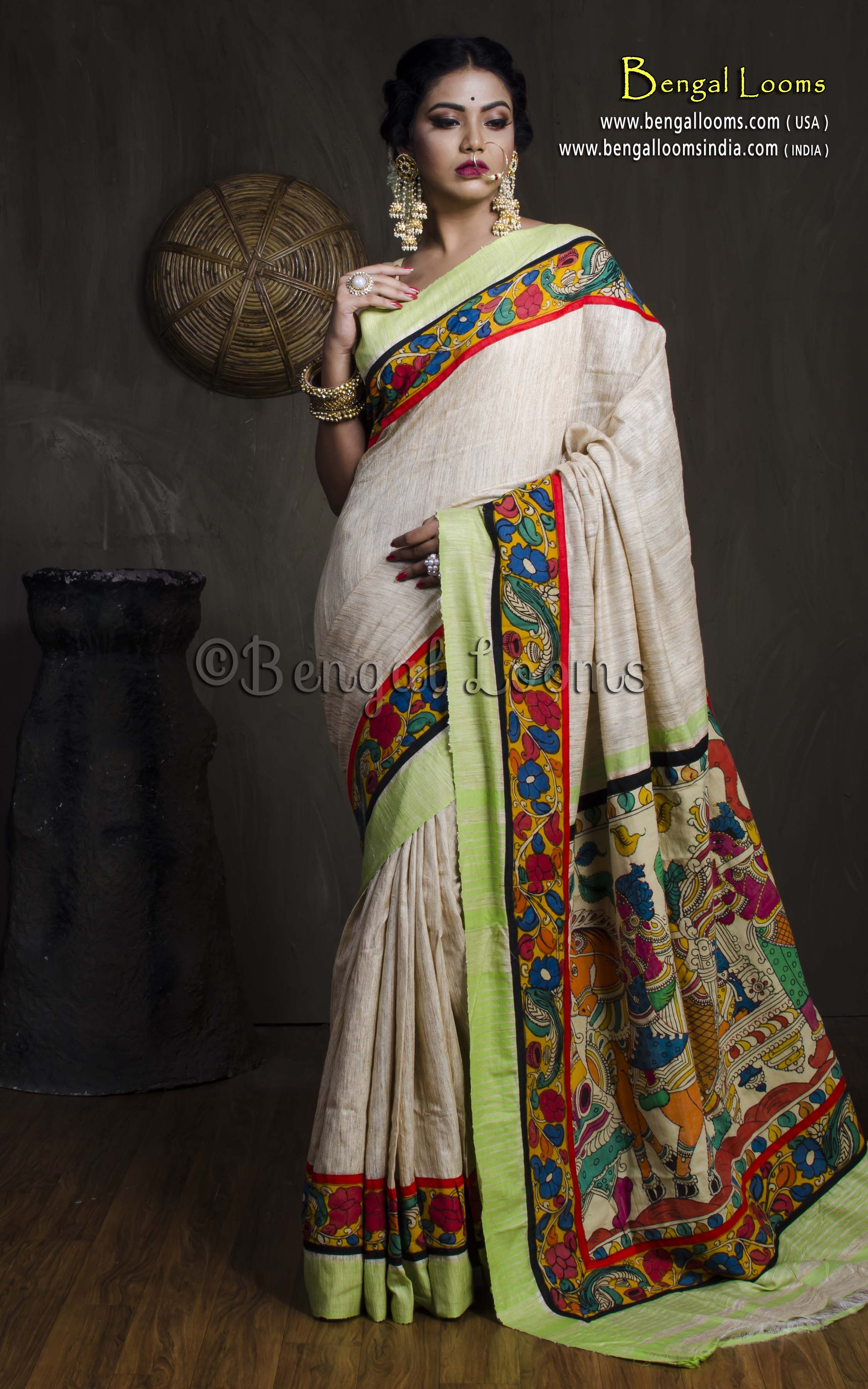 6d25c65a56 Hand Painted Kalamkari Patch Border Gicha Saree in Beige and Green ...