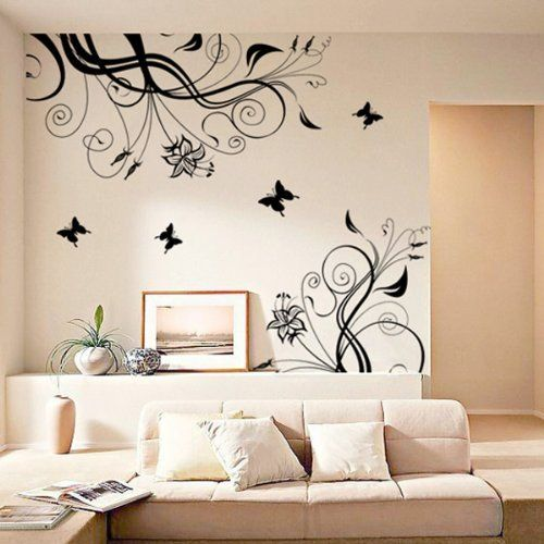 Fuloon Fashion Vine Flower Butterfly Removable Decorative Wall Art Sticker Decal For Home Decor Bedroom No Glue O Sticker Wall Art Home Decor Kid Room Decor