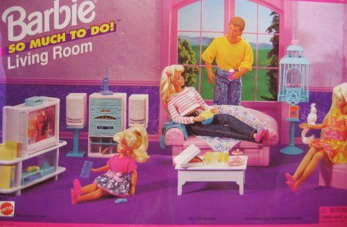Barbie So Much To Do Living Room Playset (1995 Arcotoys, Mattel) by Arcotoys, Mattel. $152.95. For Ages 3+ Years. All the provided sizes, colors & details are to the best of my ability, approximate & may vary.. Includes: Sofa, Chair, Coffee Table, Bird Cage, Pet Bird, Box of Bird Food, Comb, Stereo System w/Speakers & Speaker Stands, Television w/Remote Control, Video Cassette Recorder, Cable Box, Electronic Game Unit with Game Control, Television Stand, Magazine P...
