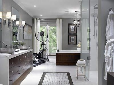 Master Bathroom Grey treadmill/elliptical in the bathroom yes please | design ideas