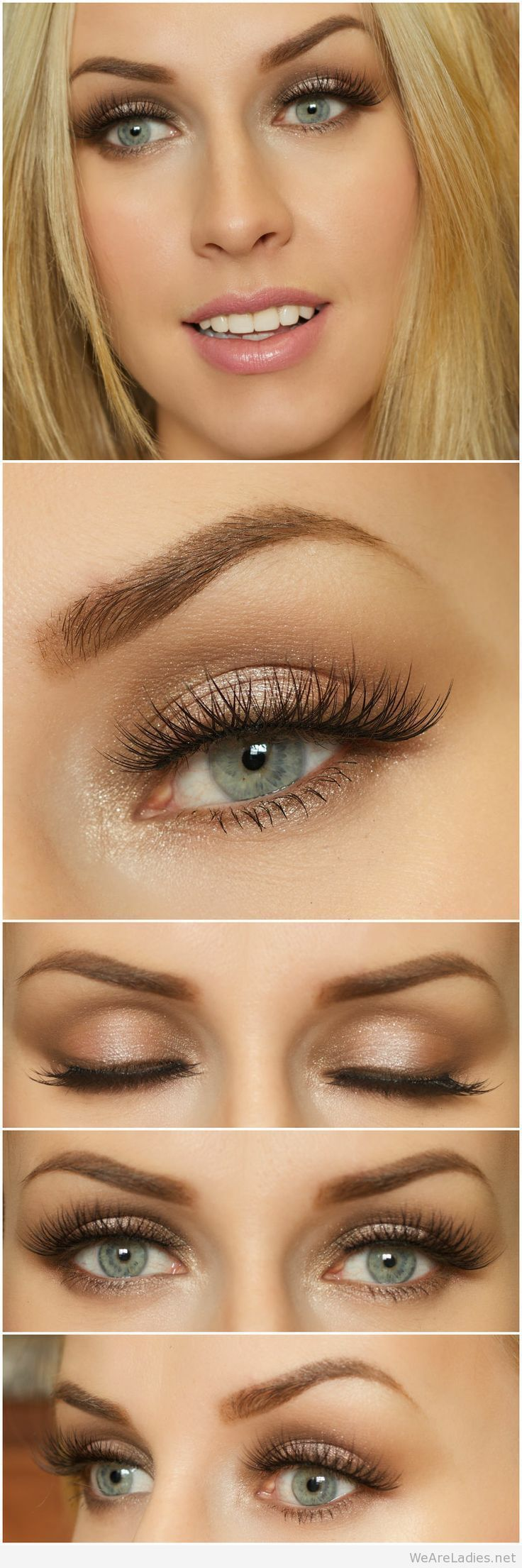 brown eye makeup for blue eyes and blonde hair | wedding