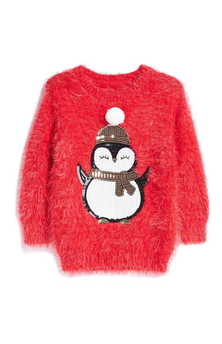 Kersttrui Kids.Rode Pluizige Kersttrui Met Pinguin Primark Kids Primark Kids