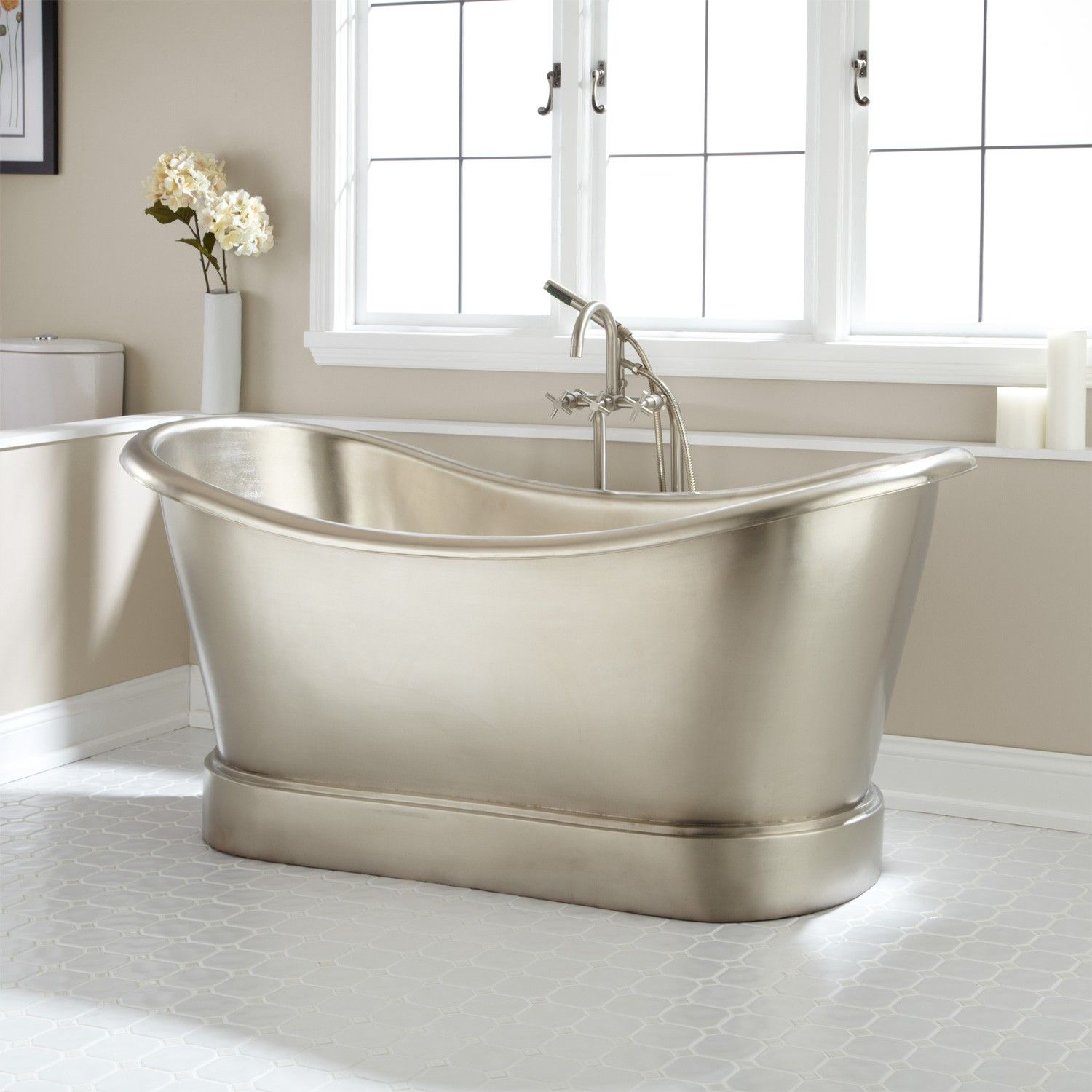 66 Quot Larimore Nickel Plated Copper Double Slipper Tub In