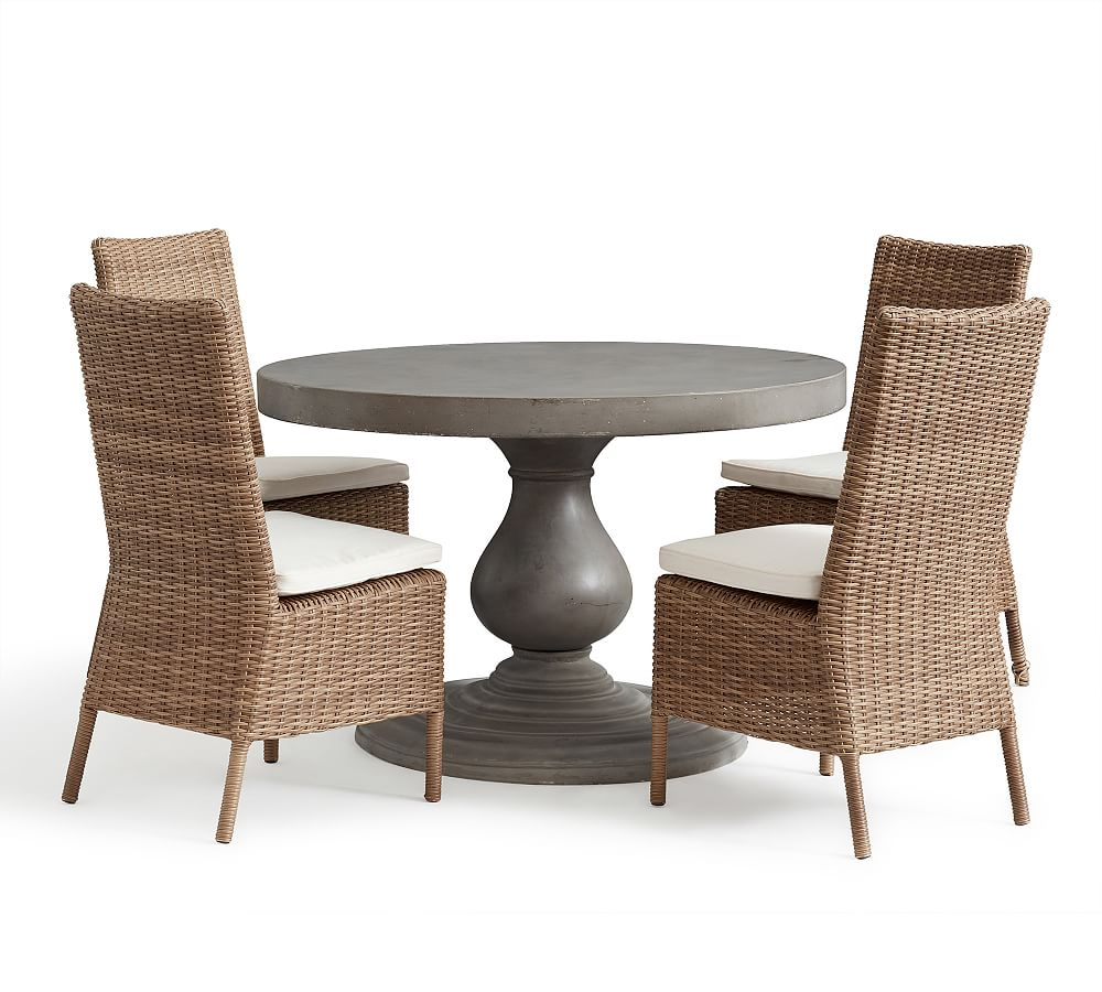 Geneva Concrete Round Dining Table 4 Torrey Side Chairs Natural