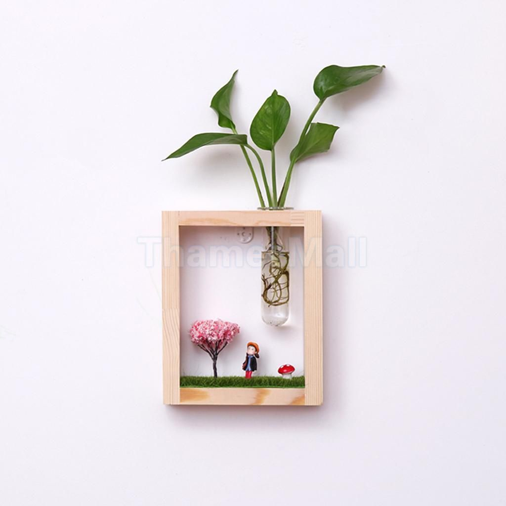 2 Pack Unique Glass Test Tube Vases with Vase Holder /& Wood Picture Frame
