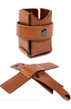 Leather Pencil/Pen Holder For Traveling. Folds Flat in 5 Seconds. By Leon Litinsky.