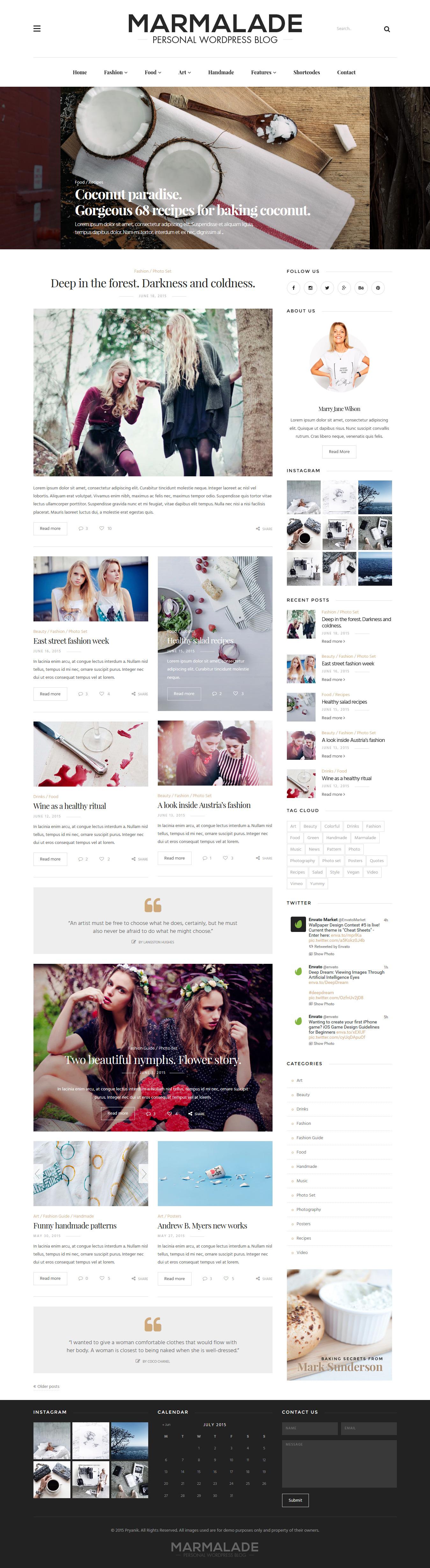 The Marmalade Personal Wordpress Blog Theme Website Blogging Webdesign Download Http Themeforest Net Item The Marmalade Personal Wordpress Blog Theme 11