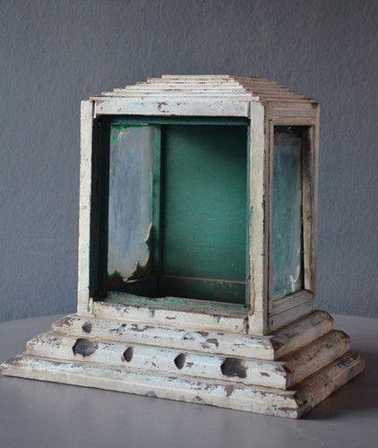 Buddhist Altars For Sale: Antique Wood Buddhist Statue Shrine Cabinet Case Vintage