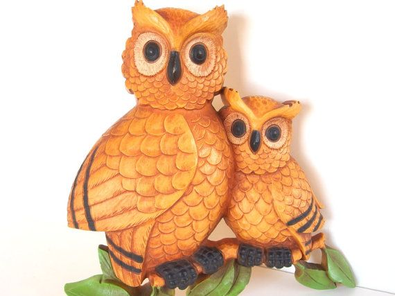 Vintage 1970's Homco / Dart Orangy Owls Wall Hanging Decor
