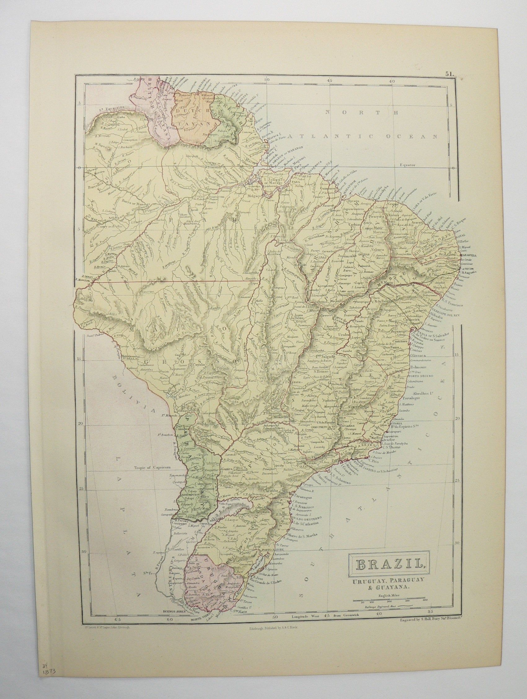 Original Antique Map Of Brazil South America 1873 A C Black Map