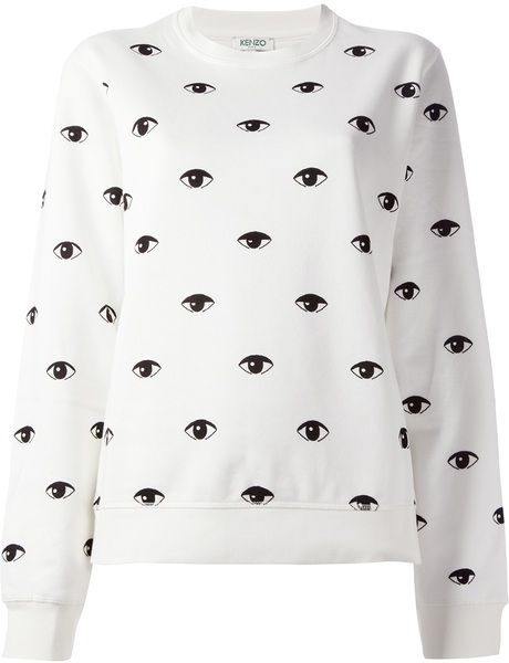 f75f8d51 Women's White 'eyes' Sweatshirt | Eyes | Printed sweatshirts ...