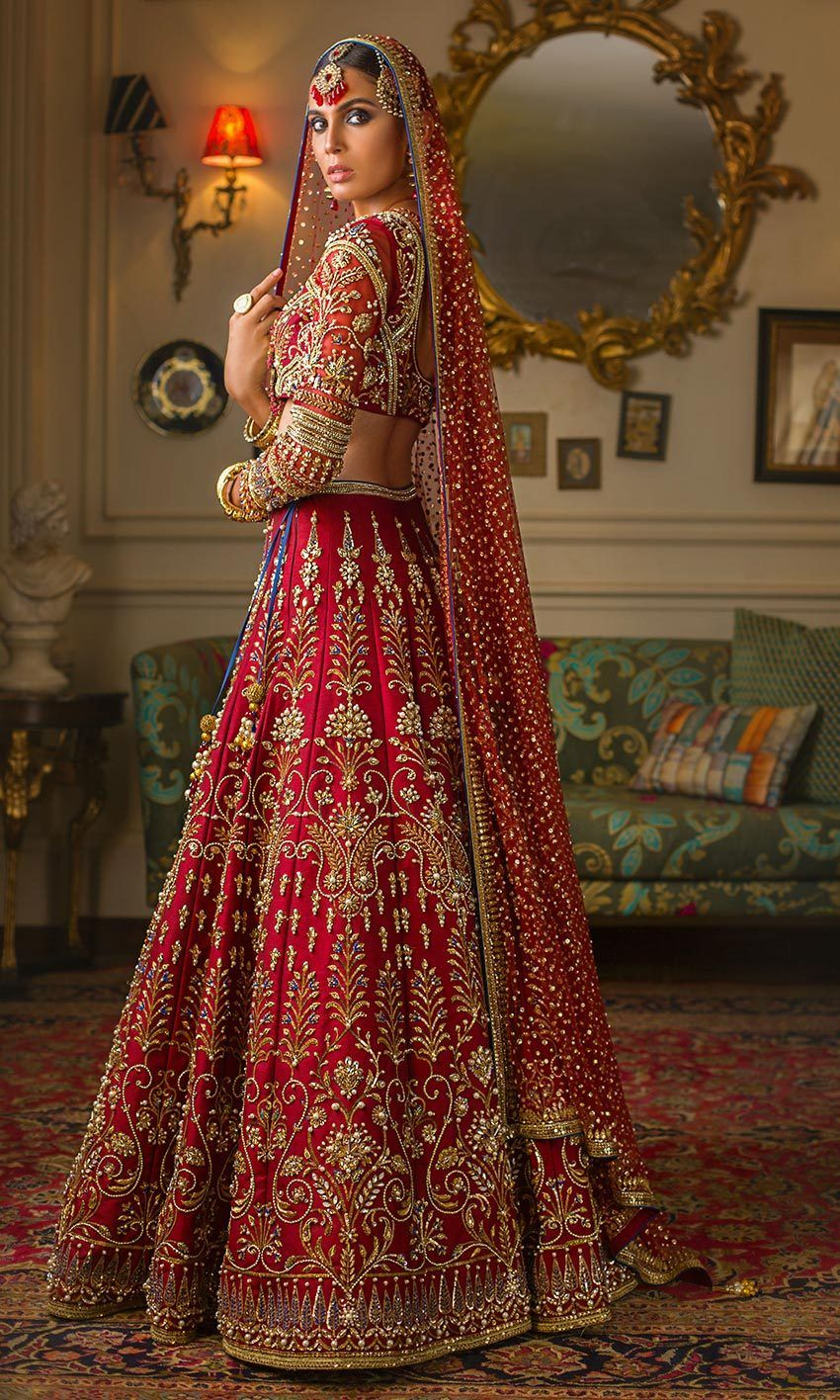 Deep red color wedding lehenga red bridal dress indian