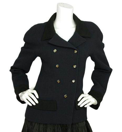 Chanel Navy Double Breasted Fitted Jacket