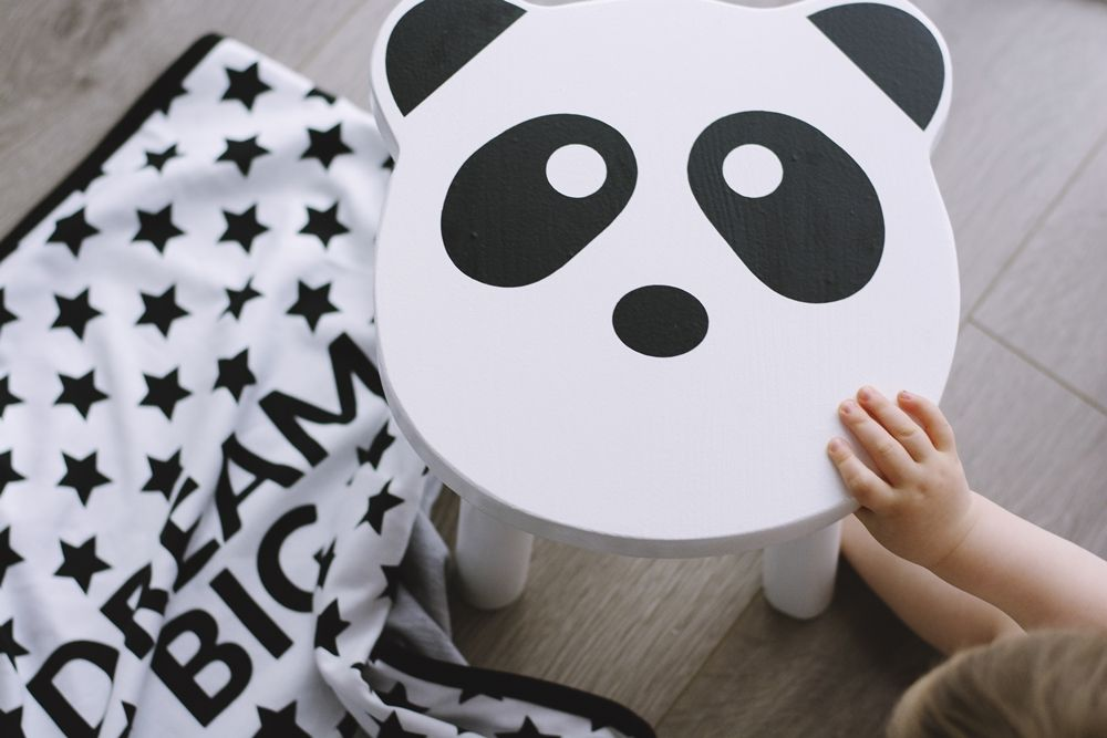 Astonishing Wooden Stool Kids Room Panda Chair Blackwhite Handmade Gmtry Best Dining Table And Chair Ideas Images Gmtryco