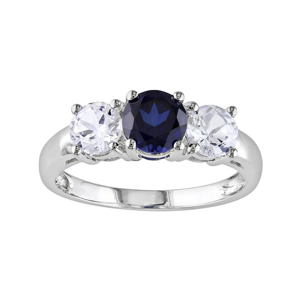 10k White Gold Lab Created Blue And Lab Created White Sapphire 3 Stone Ring Women S Siz Amethyst Ring Engagement White Gold Engagement Rings White Gold Rings