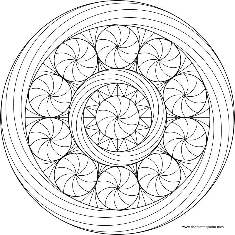 Peppermint Mandala to Color available in jpg and transparent png