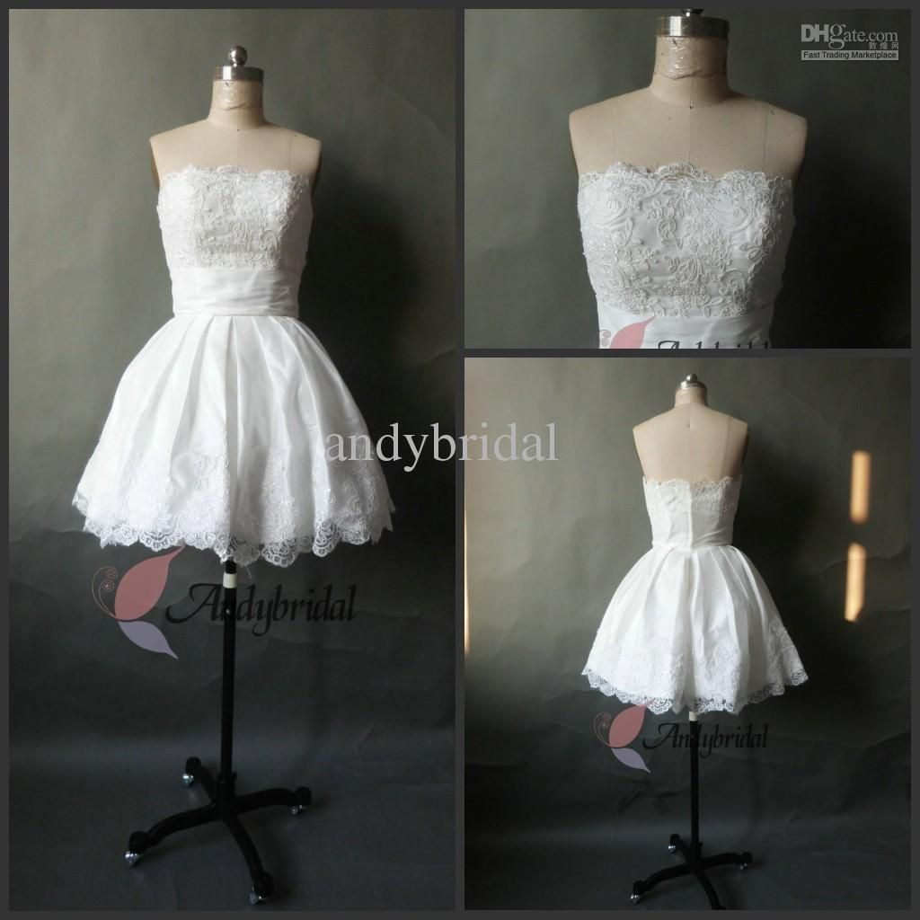 Mini white wedding dress  Cheap Custom Made  Reception Dress White Scoop A Line Short Sexy