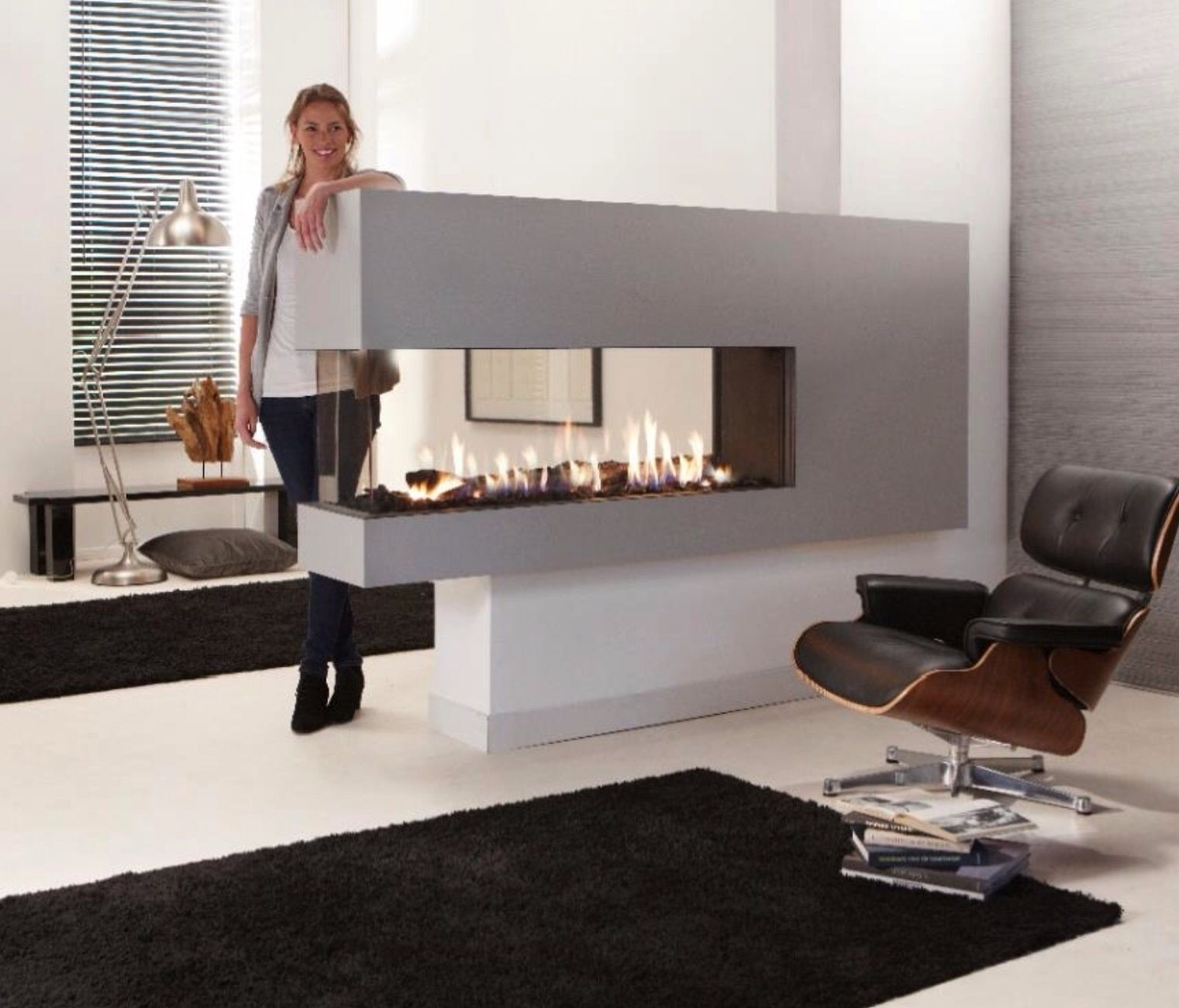 love this idea for separation of living dining areas lareiras a