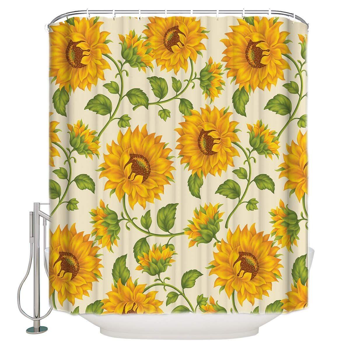 Cloud Dream Fashionable Design Sunflower Shower Curtain Waterproof Polyester Fabric Bath Curtain Design 4 Shower Curtain Curtain Designs Printed Shower Curtain