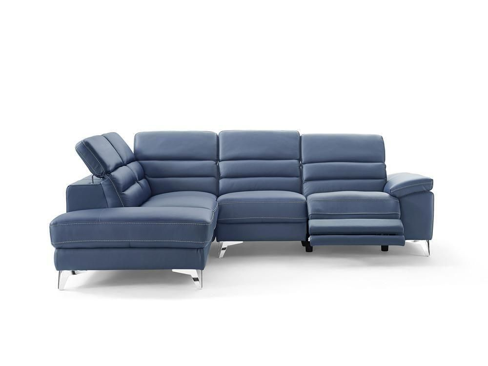 Best Johnson Sectional Sofa Blue Top Grain Italian Leather 400 x 300