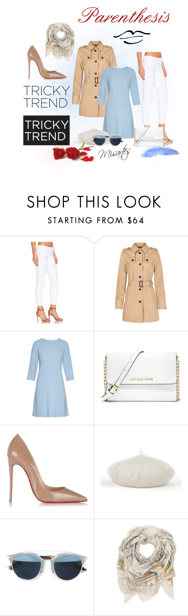 """""""Parenthesis"""" by misartes ❤ liked on Polyvore featuring Three Dots, Tommy Hilfiger, Goat, MICHAEL Michael Kors, Christian Louboutin, Christian Dior and Sophie Darling"""