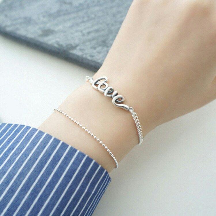 Sterling silver bead chain bracelet simple clean design