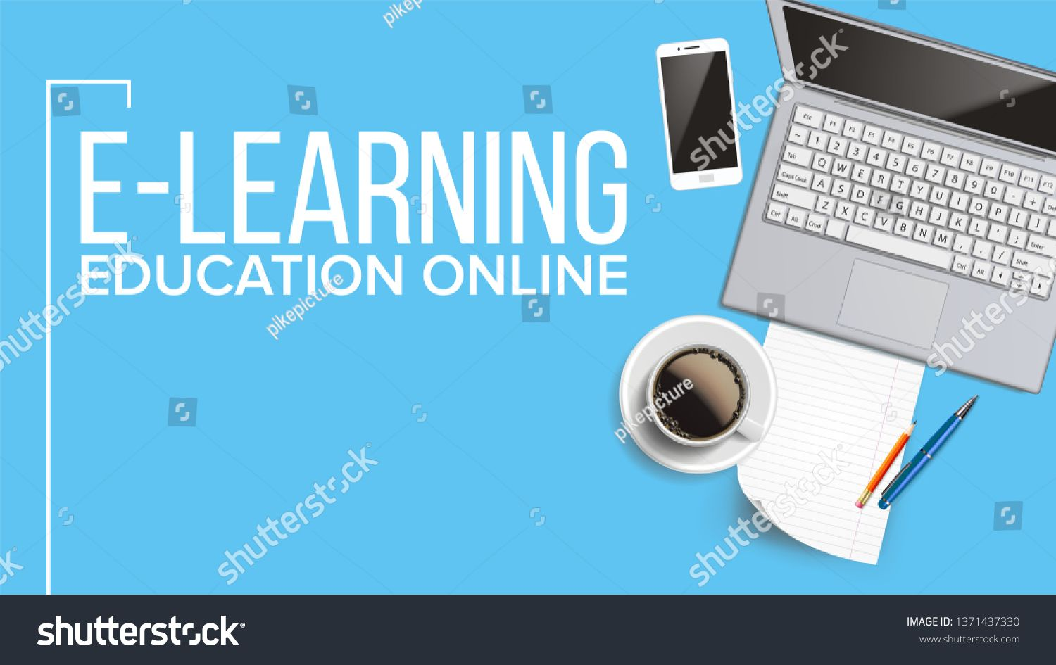 E Learning Online Education Web Banner Vector Template Distance Courses School E Learning Poster With Text Learning Poster Online Education Online Learning