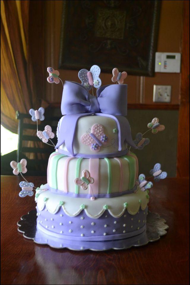 Purple Butterfly Baby Shower Cake My Cakes Pinterest Butterfly