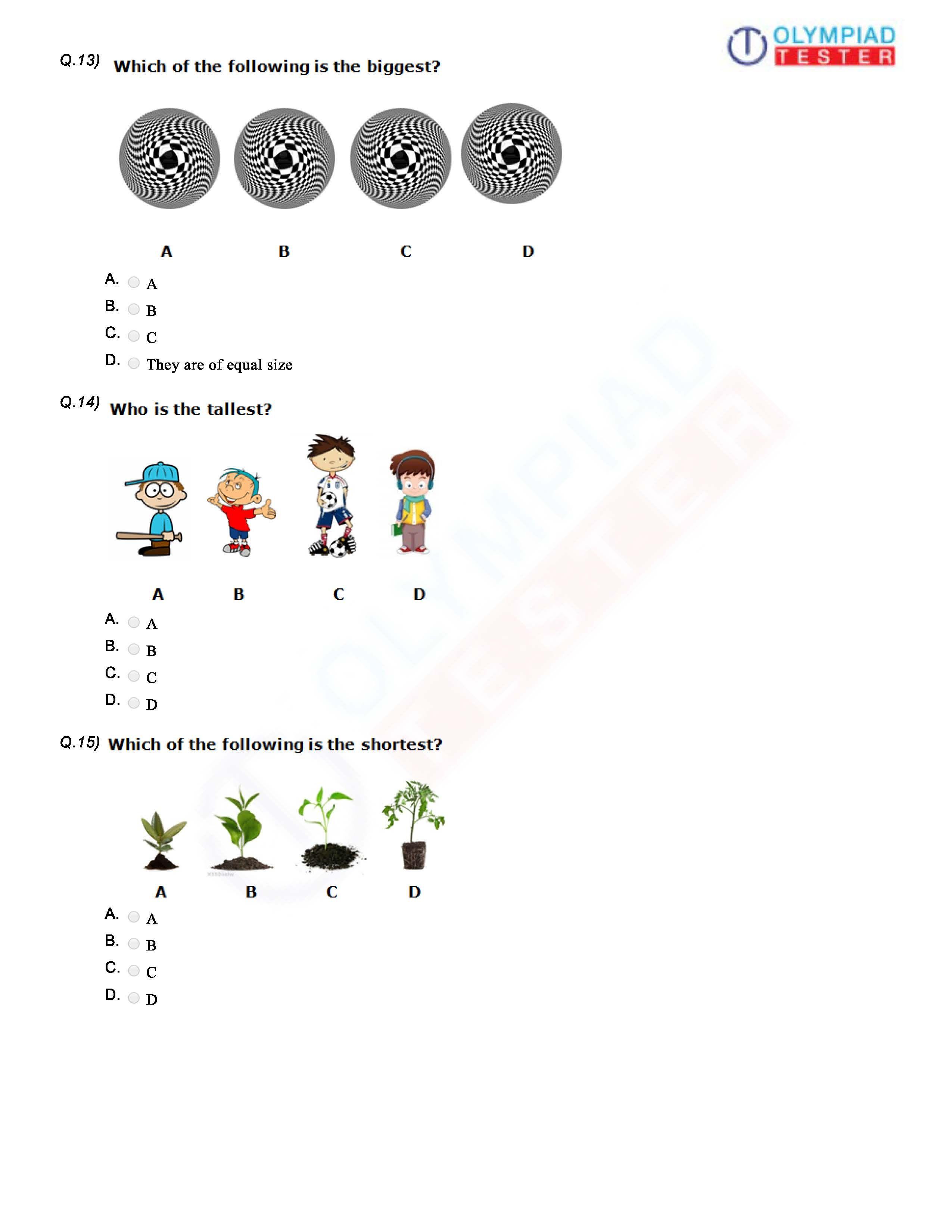 Download CBSE Class 1 Maths PDF Worksheet / Sample paper