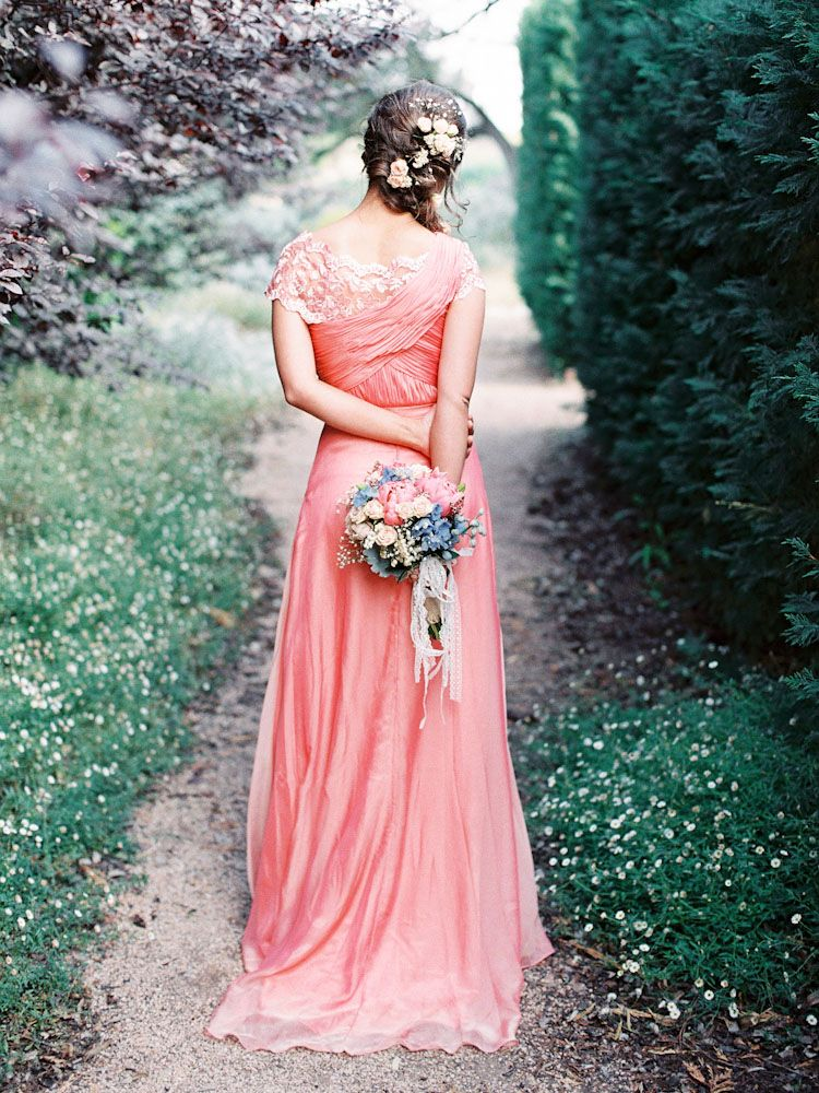 Long Peach Bridesmaids Dress | Pinterest | Vestido de ensueño, Damas ...