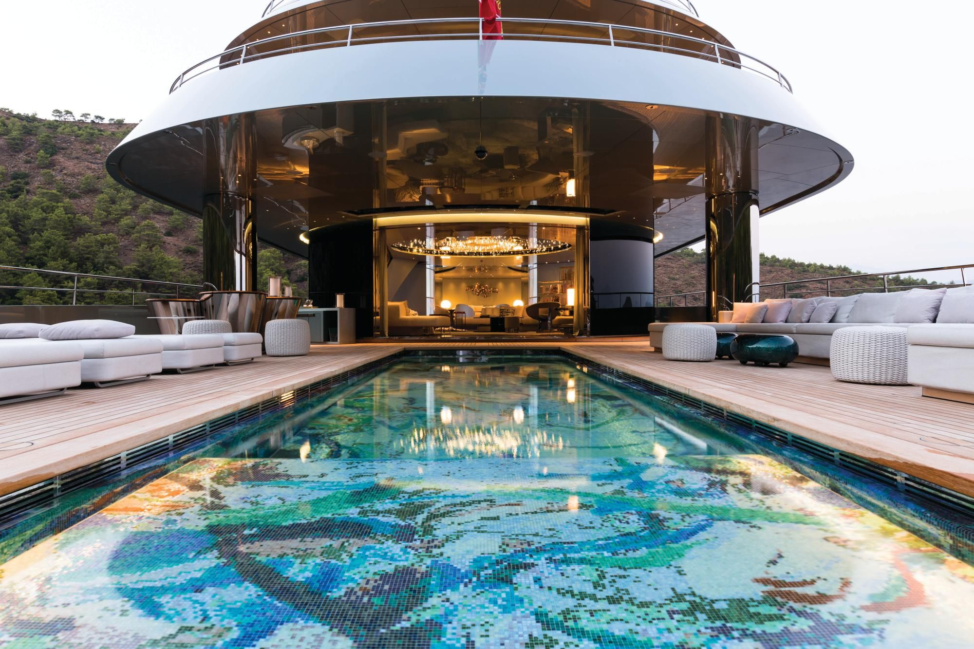 The 30 Foot Long Main Deck Swimming Pool Is Custom Tiled In A