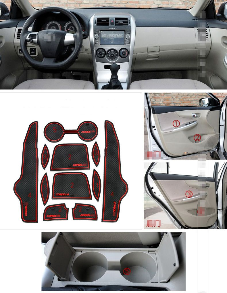 Storage Groove Pad Cup Holder Mat Non Slip Waterproof For Toyota Corolla 2007 2013 Interior Accessories Toyota Corolla Corolla 2007