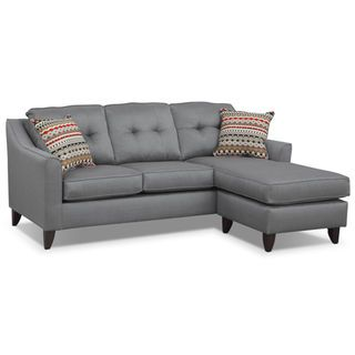 Admirable Marco Gray Chaise Sofa American Signature Furniture New Ncnpc Chair Design For Home Ncnpcorg
