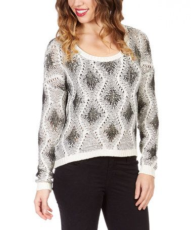 This White & Gray Sequin Sweater by Janet Paris is perfect! #zulilyfinds