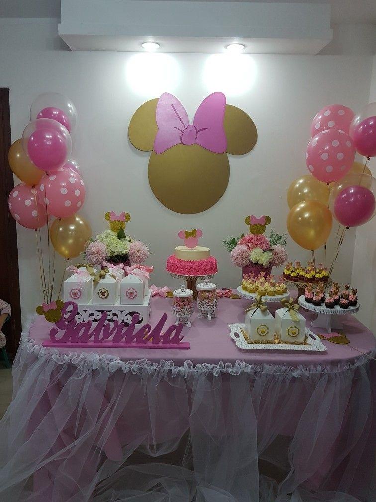 Minnie Mouse Pink And Gold Mesa Principal Con Cajitas De