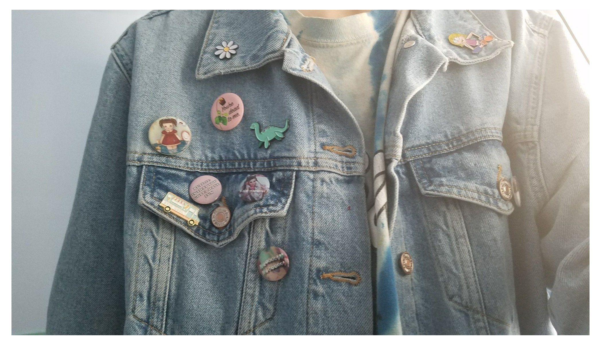 Button Pins On Denim Jacket Buttonpinsondenimjacket Pinterest Sadwhore In 2021 Pins On Denim Jacket Fashion Jackets [ 1202 x 2096 Pixel ]